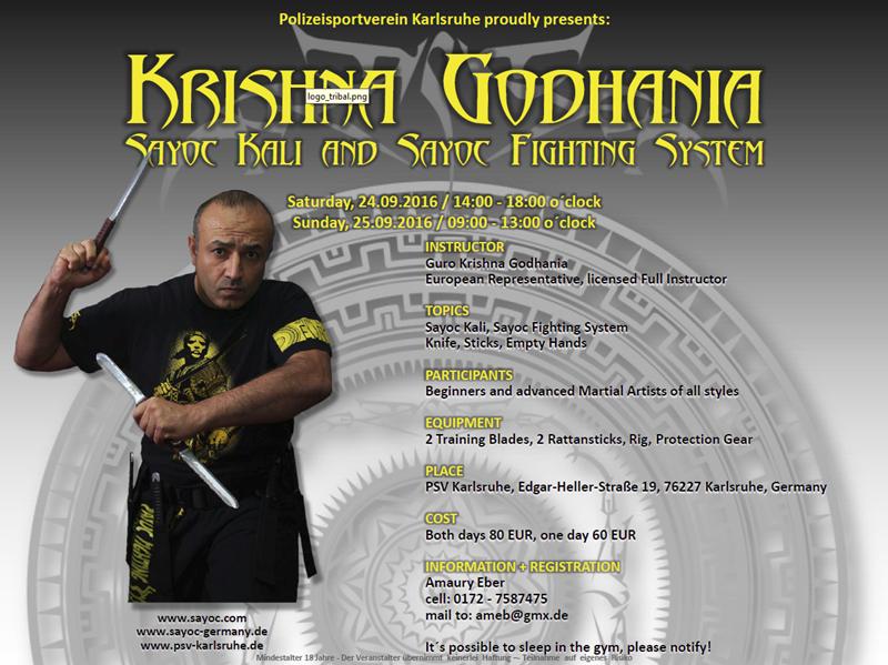 Sayoc Seminar Karlsruhe Germany 2016 Guro Krishna Godhania