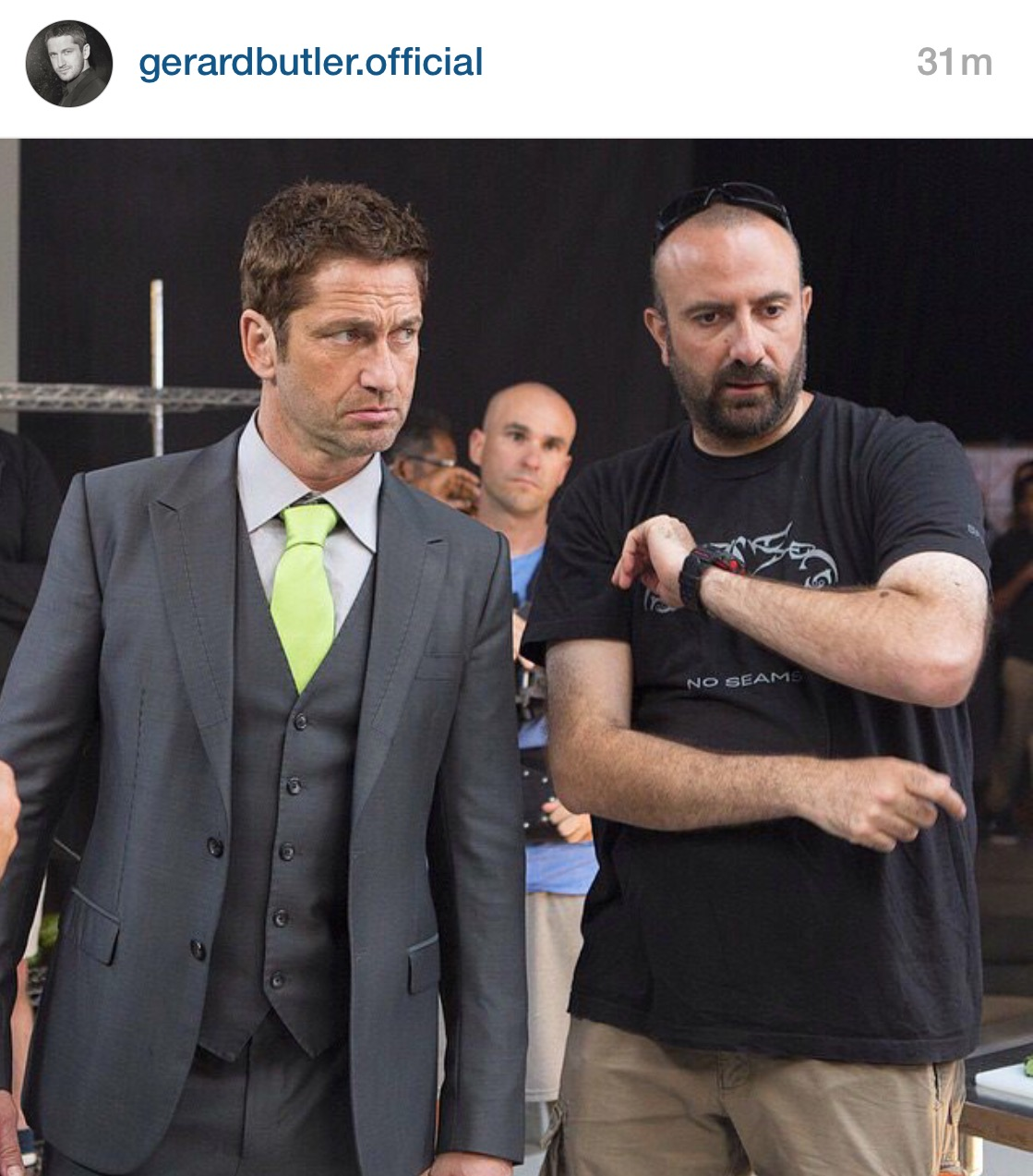 Sayoc Instructor and Director, Zee Alhusaini, and Gerard Butler filming Etisalat ad